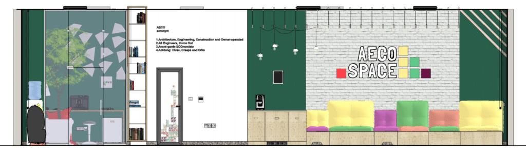 Élévation en coupe à travers le bureau AECO Space. Dessiné à l'aide de SketchUp Pro et compilé dans LayOut.