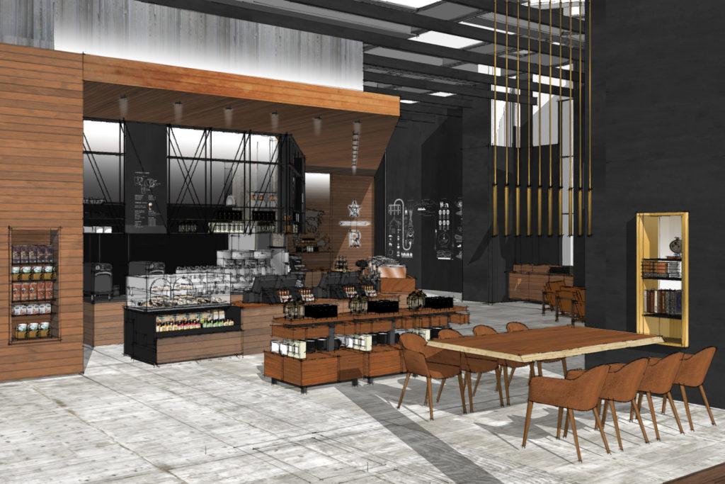 Agencement de restaurant Starbucks fait sur SketchUp