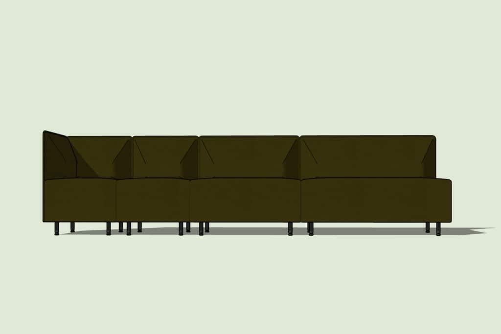 Une autre variante du canapé BANK. Une solution hautement personnalisable et confortable.